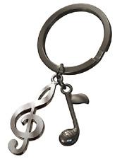 Notenschlüssel  Note  Schlüsselanhänger Musik Silber Hematite Metall  MTM-SH-20