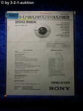 Sony Service Manual D EJ100 EJ101 EJ101CK EJ106CK CD Player (#5803)