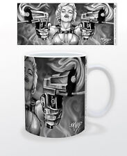 JAMES DANGER DOUBLE GUNS 11 OZ COFFEE MUG WEAPON DANGEROUS COOL CUP BABE WOMAN!!