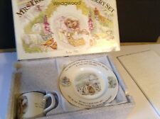 WEDGWOOD BEATRIX POTTER MRS TIGGY-WINKLE NURSERY SET 3 PC PLATE CUP BOWL
