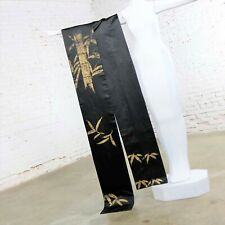 Vintage Black Silk Japanese Obi with Gold Bamboo Hand Painted Design