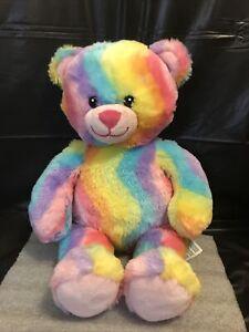 "2012 Build A Bear BAB Rainbow Plush Toy Stuffed Animal 16"" Tie Dye Teddy Bear"