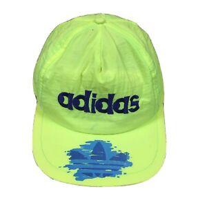 90s VTG ADIDAS NEON SPELL OUT TREFOIL Logo Nylon SnapBack Hat Tennis 80s Track