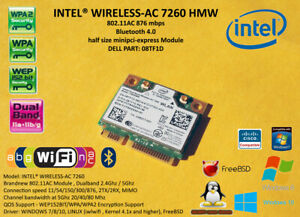Intel 7260HMW Wlan 802.11AC BT 4.0 minipci express DELL P/N: 0NMTXR