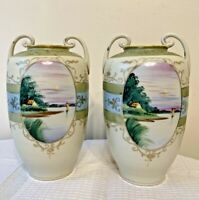 "Set of 2 Vintage Nippon Hand Painted Scenic Vases 7.5"" Tall"