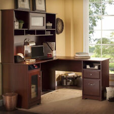 "Computer Desk Workstation Table 60"" L Shape with Hutch in Harvest Cherry"