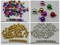 100 JINGLE BELLS~Christmas Gold Bells ~Beads Charms 6mm Silver Gold Mixed Color