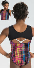"Nwt Disco Pop Simone Biles Gk â""¢ cool back gymnastics leotard Free Scrunchie Cl"