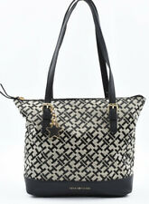 TOMMY HILFIGER Small Monogram Fabric Shoulder Bag, Handbag, Black/Khaki
