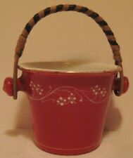 Old Antique Painted Enamel Kitchen Pail w/ Bamboo Handle - Doll Accessory