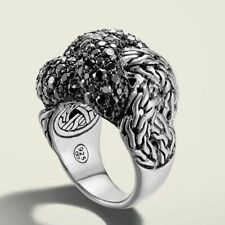 John Hardy Classic Chain Sterling Silver Lava Large Braided Ring With Black Sapphire
