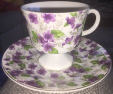 Vintage Inarco Demitasse? Tea Cup Saucer Purple Violets Flowers Coffee Gold Trim