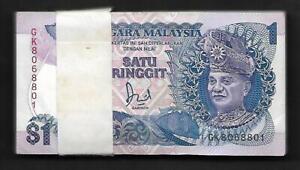 Lot 100 Pcs 1 Bundle Consecutive Malaysia 1 Ringgit 1989 UNC