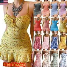 Women Sexy Floral Mini Dress Bodycon Strappy Summer Party Sundress Clubwear New