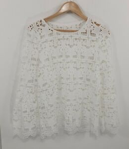 White Embroderie Englaise Blouse Sz Fit 12