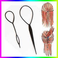 2X Topsy Tail Hair Braid Ponytail Maker Styling Clip Tool Hair Accessories Black