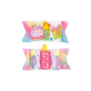 Dog Hair Bows- Happy Birthday Party Hat Pet Bow Glitter Birthday Candles Double