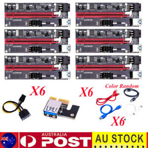 6pcs PCI-E Riser Card PCIe 1x to 16x USB 3.0 Data Cable Bitcoin Mining  VER009S
