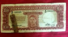1949 10 POUND AUSTRALIA NOTE COOMBS / WATT  BANKNOTE F/GOOD £10 COMMONWEALTH OF