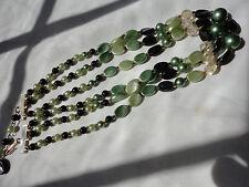 """Vintage Firmado Hong Kong 3 Strand Perla Verde Imitación fregona 25 gramos 15-17"""" Collar"""