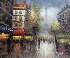 Paris Eiffel Tower Fall Street 1890s Impressionism Oil Painting 20X24  STRETCHED