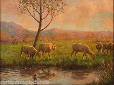 """Painting Picture DIPINTO Olio su Cartone ITALIANO FRANCHI """"PASCOLO"""" PESCIA 1880"""