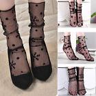 5 Pairs Gauze Fishnet Socks Glitter Mesh Ankle Socks Black Women Girls Lot.