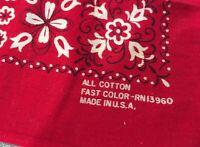 Red Bandana RN 13960 Fast Color Made in USA 100% Cotton Biker Handkerchief