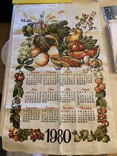 Vtg 1980 Linen Fabric Tea Towel Wall Calendar ~ Gold Brown Orange Fruits 16x25