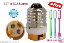 (Set of 10) - E27 to B22 LED Halogen CFL Light Base Bulb Lamp Adapter Converter