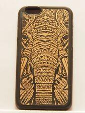iPhone 6 Plus / 6s Plus Elefant Gravur auf Echt Holz & Stoßfestem Silicon Case