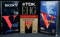 Lot of 3 VHS Tapes Blank TDK T-120/Blank Maxwell T-120 & Sony T-160 New Sealed