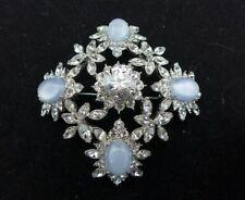 Nolan Miller Swarovski Crystal Blue Opal Moonstone Flower or Snowflake Pin NEW