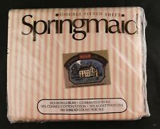 Vtg Springmaid Double Fitted Sheet - Pink Stripes -No-Iron Cotton Kodel