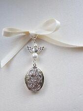 Bridal Wedding Bouquet Photo Charm Oval Silver Bouquet Locket Ivory pearls angel