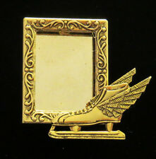 Speed Skate Skater Ice Skates Photo Pin Brooch 24 Karat Gold Plate
