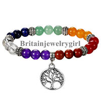 Unisex Handmade 8mm Beads Yoga Tree of Life Charm Elastic Stretch Bracelet