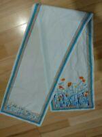 Orange & White Scarf Ladies Floral Wrap Flowers Vintage Rectangular Unbranded