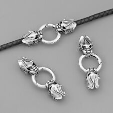 1Set Silver Dragon Head Spring Clasp for 7mm Round Leather Cord Bracelet Jewelry