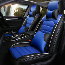 Deluxe 5-Seat Car Seat Cover Set Thicken Cushions Protector Blue Full Kits