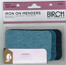 Birch Iron on Menders 8 Patches Repair Patch Mending Stonewash Light Denim Navy