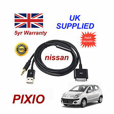 For NISSAN PIXO iPhone iPod USB & Aux Cable replacement & Adapter (Black)