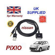 para NISSAN PIXO iPhone iPod USB & Cable Auxiliar Recambio & Adaptador (Negro)