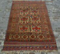 F1353 Vintage Handmade Afghan Tribal Barjasta Wool Area Kelim Rug 6'2 x 9'5 Feet