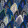 Marimba Stacked Leaves Blue Black 100% cotton fabric by the yard