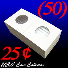 (50) Quarter Size 2x2 Mylar Cardboard Coin Flips for Storage | 25 Cent Holders