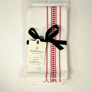 Hearth and Hand Magnolia 4pc XMAS NAPKIN SET Sour Cream w/Red Embroidered Stripe