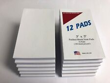 """NOTE PADS - Blank -  3"""" X 5"""" - 100 Sheets Per Pad  - 12 Pads"""