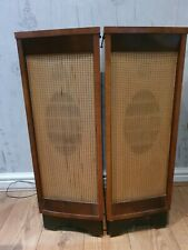 More details for vintage set of 2 (pair) shiny wood caster wheel emi floor speakers untested gc