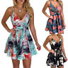 Women Floral Strap V-neck Sleeveless Summer Party Beach Pleated Short Mini Dress